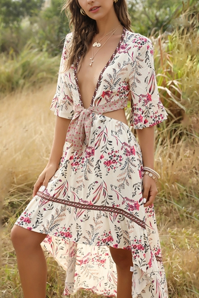 Sexy Womens Bohemian Style Ruffled Hollow Out Back Bow Tie Deep V Neck Flare Cuff Sleeve Midi A-Line Asymmetrical Dress