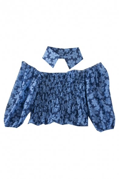 Sexy Womens Floral Printed Pleated Ruffle Trim Off the Shoulder Half Puff Sleeve Slim Fit Crop Blouse with Choker
