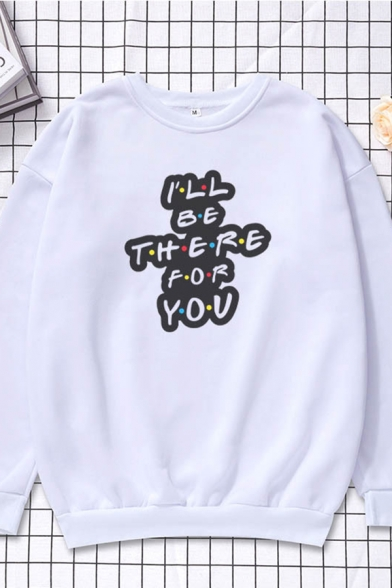 Casual Boys Letter Friends Dont Lie Cartoon Figure Graphic Long Sleeve Crew Neck Loose Pullover Sweatshirt