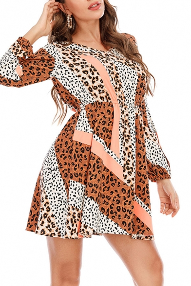 Casual Womens Leopard Printed Contrasted Long Sleeve V-neck Mini Swing Dress, Blue;orange;gray, LM659295