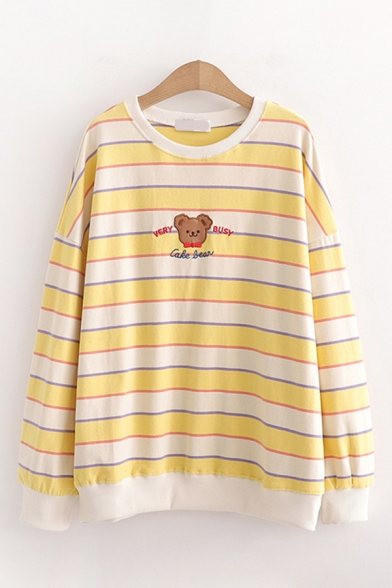 Fashion Girls Bear Letter Embroidered Stripe Printed Long Sleeve Crew Neck Relaxed Pullover Sweatshirt
