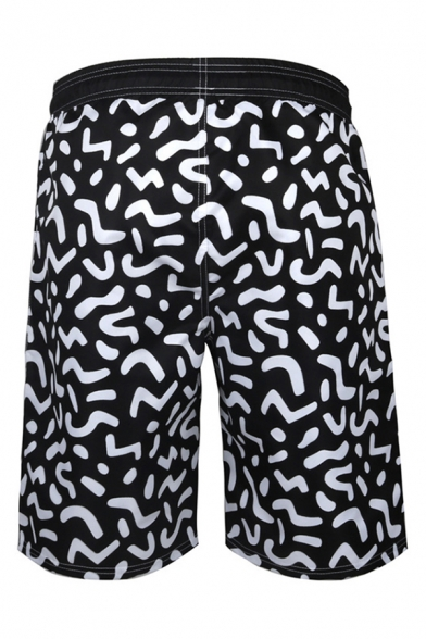 Fashion Mens 3D Relax Shorts All over Print Pocket Drawstring Straight Fit Mid Rise Knee Length Relax Shorts