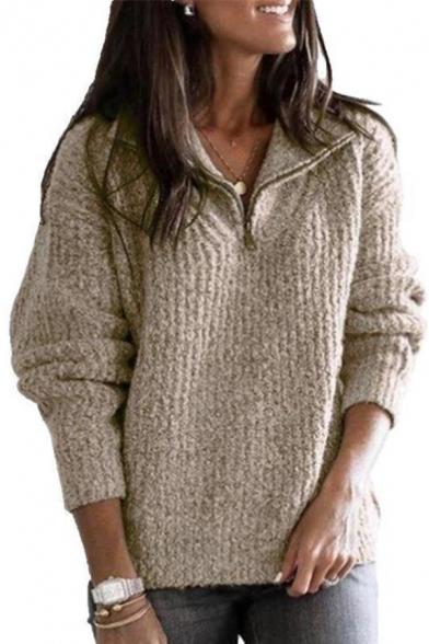 Ladies Stylish Lapel Collar Half-Zip Long Sleeve Loose Sherpa Pullover Sweatshirt with Pocket