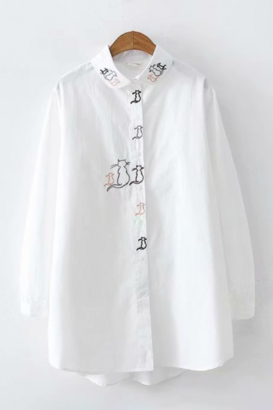 Leisure Girls Cat Embroidery Stripe Printed Long Sleeve Turn Down Collar Button Up Long Loose Fit Shirt Top