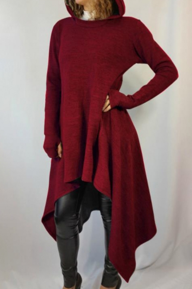 Leisure Plain Oblique Zip Long Sleeves Asymmetric Trench Coat with Hood