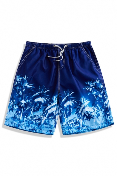 Popular Navy Blue Summer Palm Tree Plant Print Stretch Swim Trunks for Guys with Hook and Loop Pockets
