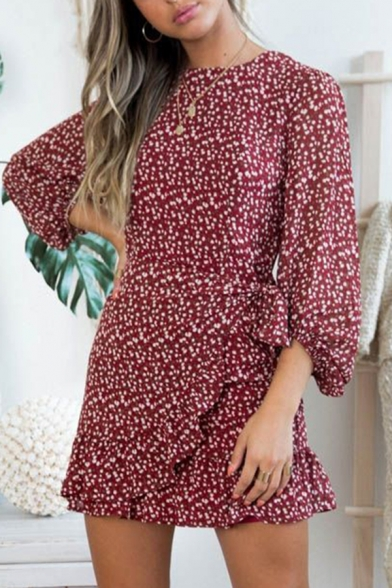 Popular Womens Ditsy Floral Printed 3/4 Sleeve Crew Neck Ruffled Hem Tied Waist Short A-line Dress in Red