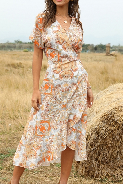 Pretty Womens Paisley Printed Asymmetric Ruffled Bow Tie Waist Surplice Neck Roll up Short Sleeve Midi A-Line Wrap Dress in Orange