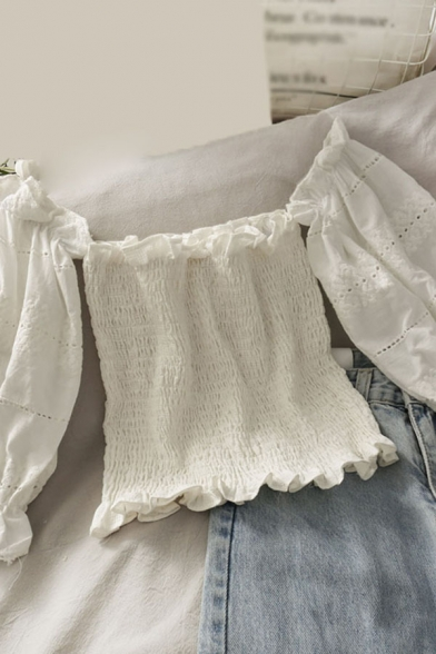 Sexy Ladies Solid Color Cut Out Crochet Embroidery Print Ruffle Trim Pleated Short Puff Sleeve Off the Shoulder Slim Fitted Crop Blouse