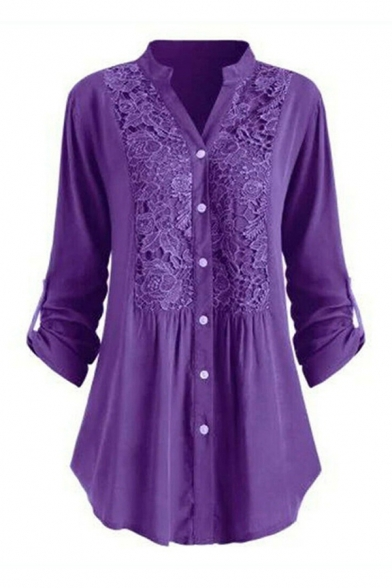 Trendy Womens Solid Color Pleated Button Up Patched Lace Long Sleeve Stand Neck Relaxed Fit Tunic Shirt