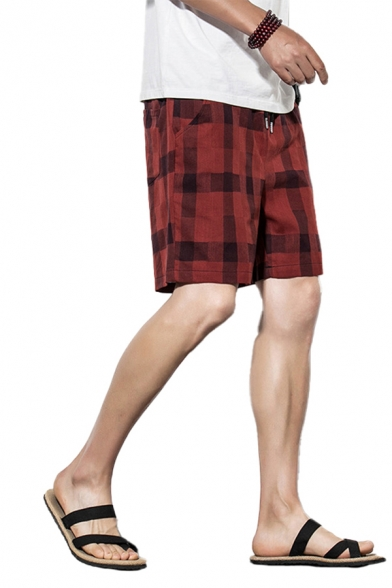 Casual Mens Shorts Checked Pattern Pocket Drawstring Mid Rise Regular Fitted Shorts