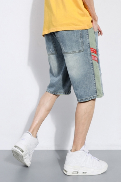 Chic Mens Jean Shorts Light Wash Letter Printed Ripped Tape Applique Pocket Drawstring Mid Rise Regular Fit Jean Shorts