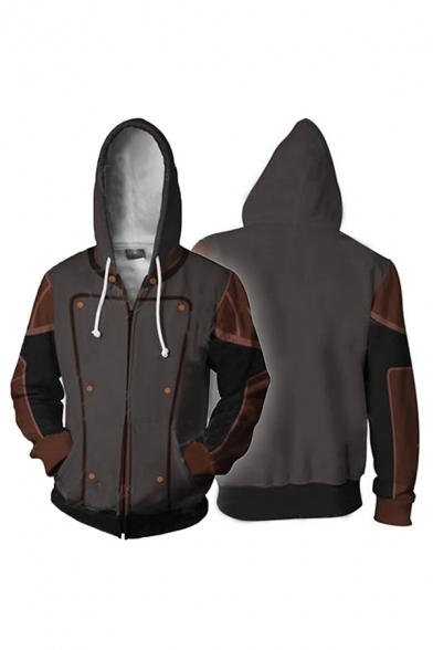 Fashionable Dark Gray Contrasted Button Printed Long Sleeve Zip Up Drawstring Relaxed Hoodie