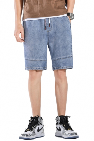 Leisure Jean Shorts Light Wash Applique Pocket Drawstring Mid Rise Fitted Jean Shorts for Men