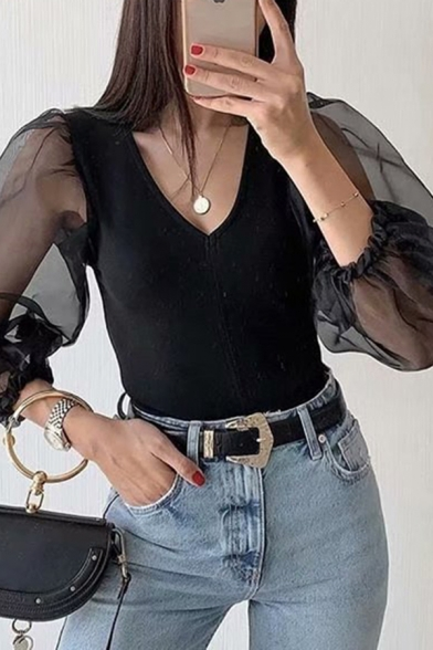 Sexy Ladies Sheer Mesh Patched Lantern Sleeve V-neck Regular Fit Blouse Top in Black