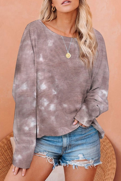 Casual Tie Dye Print Contrasted Long Sleeve Crew Neck Loose Fit Pullover Sweatshirt
