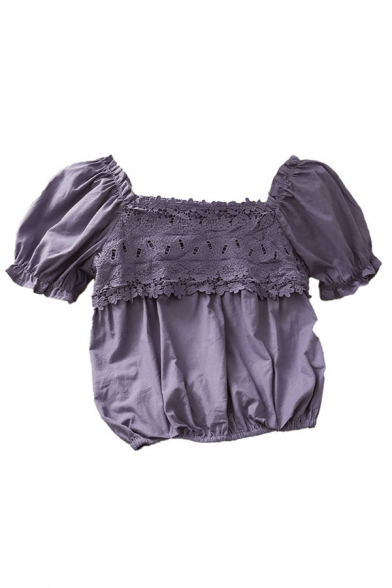 Elegant Girls Solid Color Ruffle Trim Pleated Patched Lace Short Puff Sleeve Off the Shoulder Fitted Crop Top