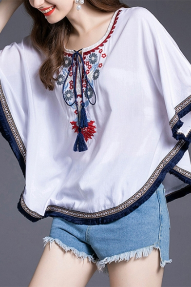 Ethnic Womens Flower Embroidered Tassel Batwing Short Sleeve Round Neck Tied Front Curved Hem Loose Fit Blouse Top