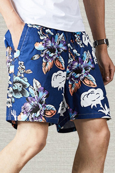Holiday Mens Shorts Floral Leaf Pattern Pocket Drawstring Mid Rise Regular Fitted Shorts