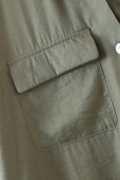 Ladies Chic Plain Flap Pockets Slit Side Button Up Short Sleeve Turn Down Collar Relaxed High Low Shirt in Green