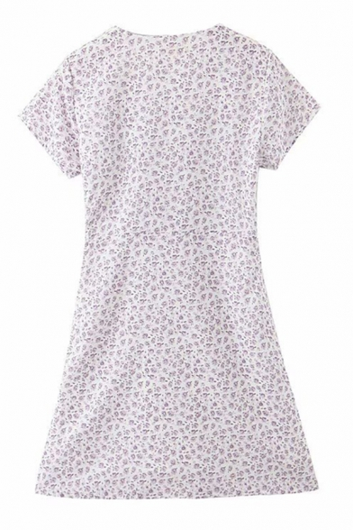 Pretty Womens Ditsy Floral Printed Short Sleeve V-neck Short A-line Dress in Purple