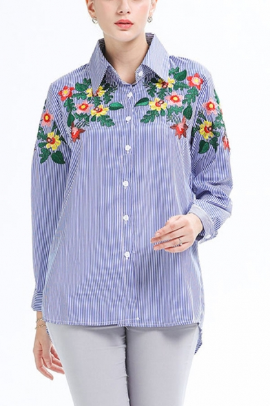 Retro Womens Striped Printed Floral Embroidery Button down Turn-down Collar Long Sleeve Regular Fit Shirt in Blue