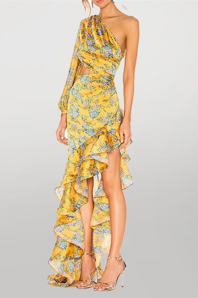Stylish Allover Floral Pattern Single Sleeve Oblique Shoulder Ruffled Long Asymmetric Dress in Yellow