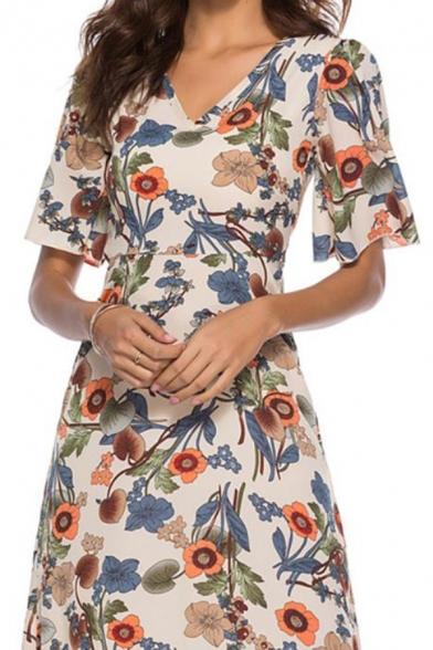 Women's Plus Size Summer Beige Floral Printed V-Neck Mini A-Line Dress