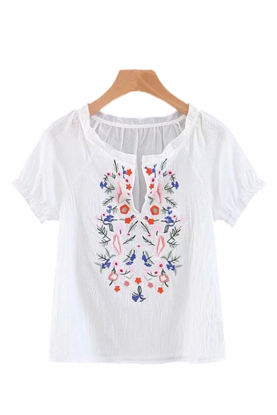 Chic Womens Floral Embroidery Stringy Selvedge Notched Collar Short Puff Sleeve Regular Fit Blouse Top