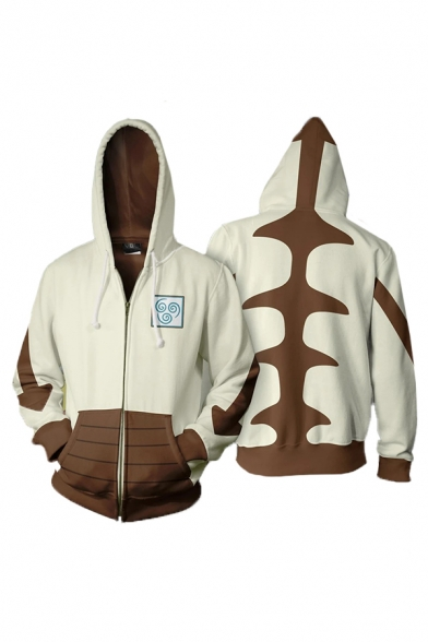 Creative Contrasted Arrow Printed Long Sleeve Drawstring Zipper Front Relaxed Fit Hoodie in Beige