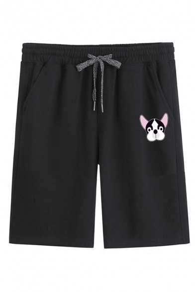 Mens Fashion Shorts Dog Head Print Drawstring Knee-length Straight Fit Sweat Shorts with Pockets