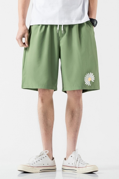Unique Shorts Floral Pattern Pocket Drawstring Mid Rise Relaxed Fitted Shorts for Men