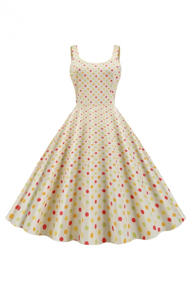 Vintage Womens Polka Dot Print Round Neck Mid Pleated Swing Cami Dress, Black;blue;pink;apricot, LM640254