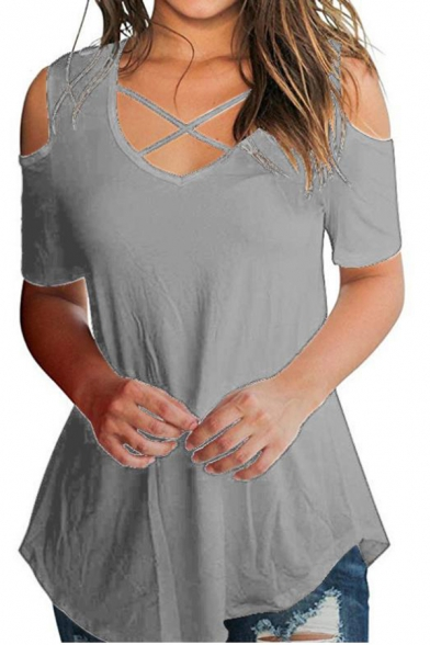 Womens New Stylish Ombre Color V-Neck Cold Shoulder Short Sleeve Fitted T-Shirt