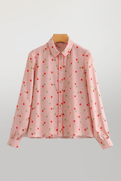 All Over Heart Printed Long Sleeve Turn Down Collar Button Up Loose Fit Fancy Shirt Top in Pink