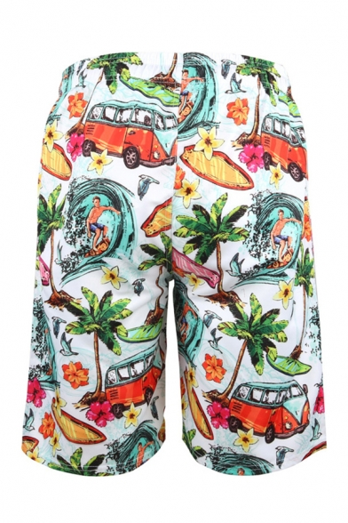Holiday Men's Shorts Bus Tree Figure Wave Floral Fish Leaf 3D Printed Pockets Drawstring Waist Knee-length Straight Fit Relaxed T-Shirt