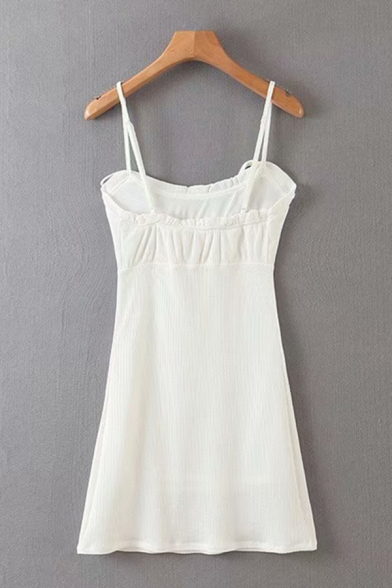 Sexy Solid Color Bow Tied Spaghetti Straps Ruched Knit Short A-line Slip Dress