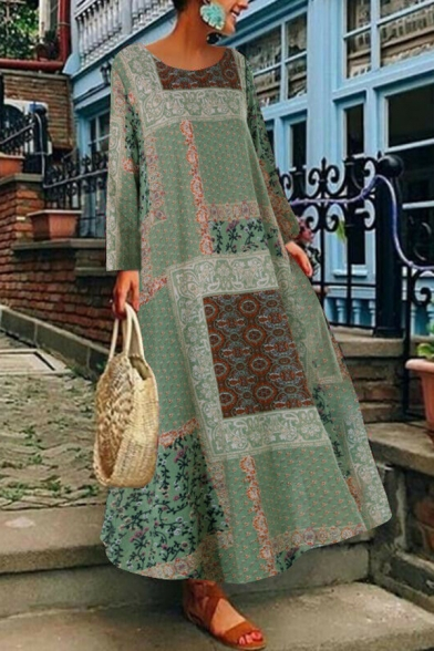 Casual Tribal Printed Round Neck Long Sleeve Oversized Maxi Swing Dress for Women