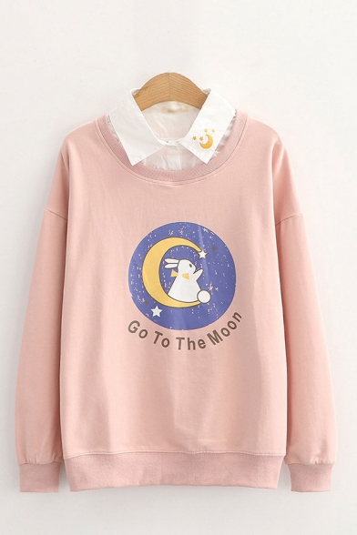 Fake Two Piece Letter Go To The Moon Rabbit Graphic Embroidered Long Sleeve Point Collar Button Detail Loose Pullover Sweatshirt