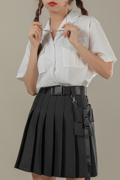 Fancy Girls Solid Color Short Sleeve Notched Collar Button-up Flap Pockets Relaxed Fit Shirt