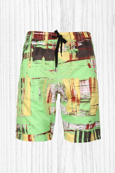 Fashion 3D Mens Relax Shorts Plant Leaf Coconut Trees Pattern Drawstring Regular Fitted Mid Rise Knee Length Relax Shorts