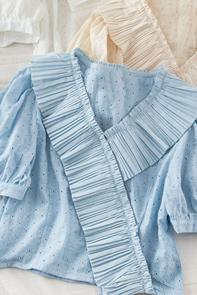 Fasionable Girls Solid Color Crochet Cut Out Ruffle Cuff Patchwork Zip Side V Neck Short Puff Sleeve Regular Fit Crop Shirt