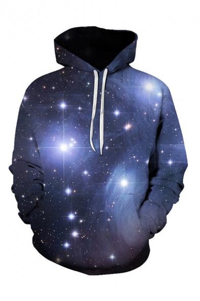 Mens 3D Hooded Sweatshirt Casual Sparkle Galaxy Planet Pattern Drawstring Long Sleeve Regular Fit Hooded Sweatshirt