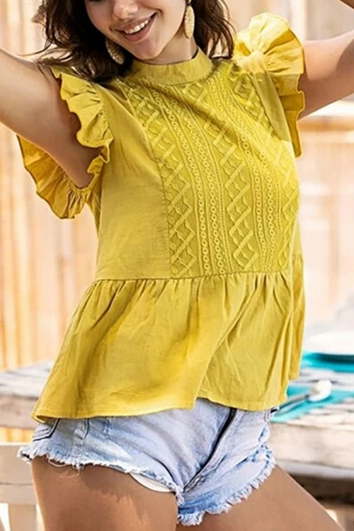 Pretty Embroidered Stringy Selvedge Butterfly Sleeve Mock Neck Ruffled Hem Relaxed Fit Blouse Top in Yellow