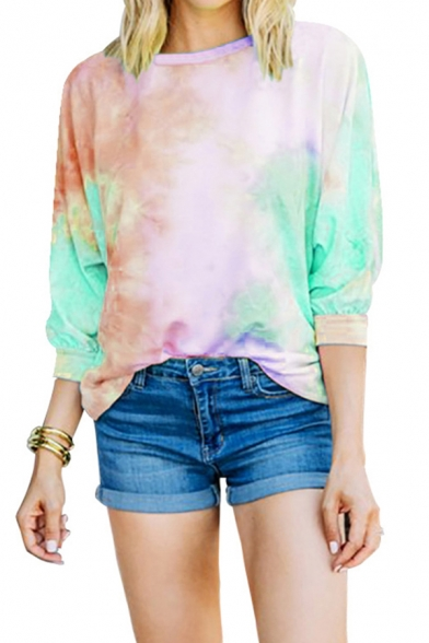 Trendy Womens Tie Dye Printed Long Sleeve Crew Neck Crisscross Cut out Back Relaxed Hoodie