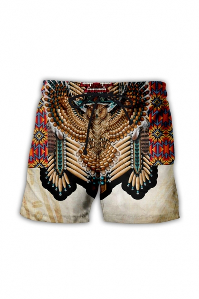Cozy 3D Relax Shorts Tribal Animal Eagle Stripe Feather Pattern Drawstring Above the Knee Fitted Mid Rise Relax Shorts for Men