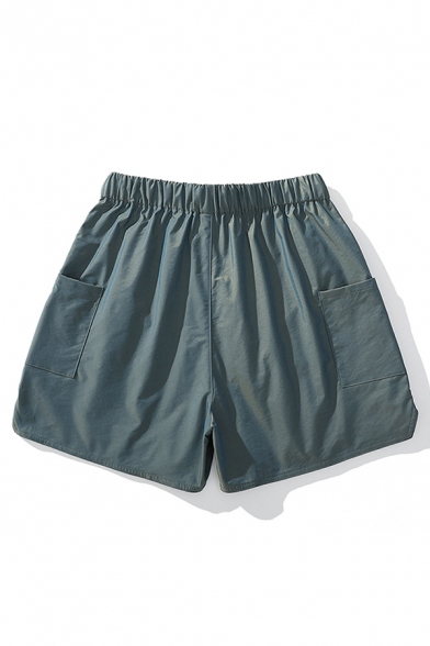Dressy Shorts Solid Color Split Pocket Drawstring Mid Rise Relaxed Fitted Shorts for Men