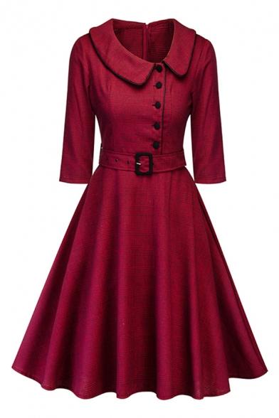 Elegant Ladies Tartan Print Buckle Belt Off-Center Button Zipper Back Peter Pan Collar Half Sleeve Midi Swing Dress