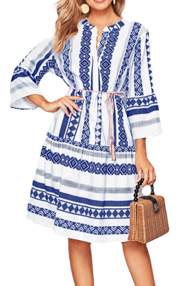 Ethnic Womens Geo Printed 3/4 Sleeve V-neck Bow Tied Waist Mid A-line Dress in Blue