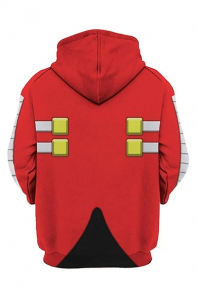 Fashionable Red Geo Patterned Kangaroo Pocket Long Sleeve Drawstring Relaxed Fit Hoodie for Guys
